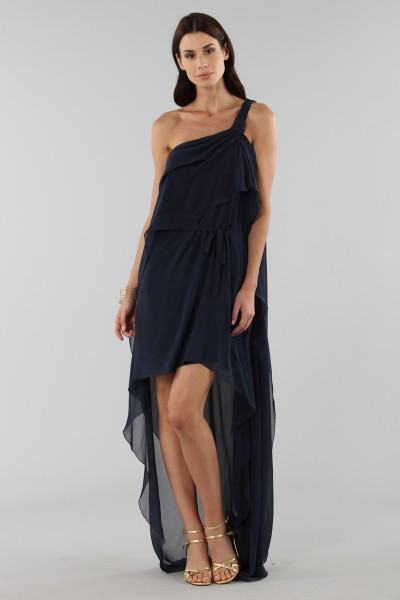 Asymmetric blue silk dress