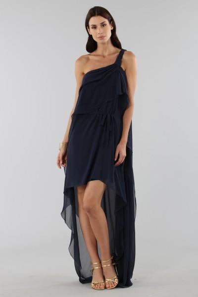 Asymmetric blue silk dress