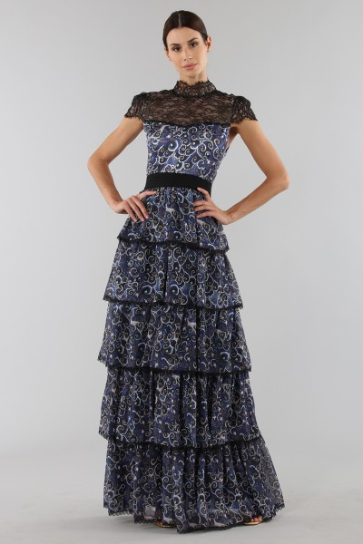 Blue dress with overlapping frills