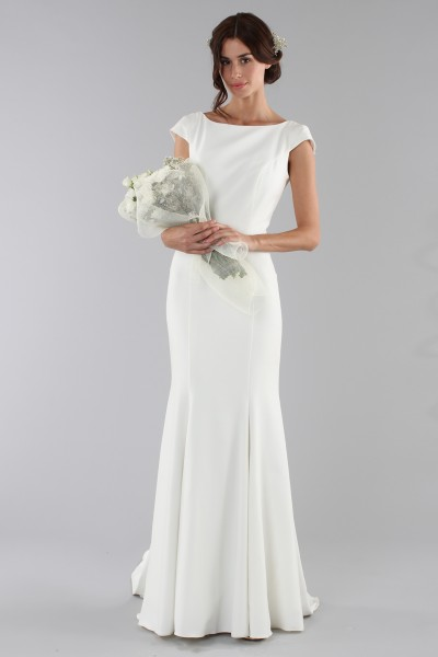 Bridal gown with drop neckline