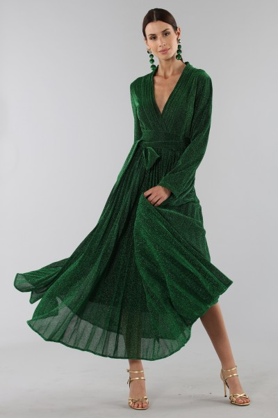 Green glittery long-sleeved dress