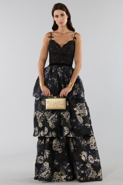Three-layer brocade dress with lace