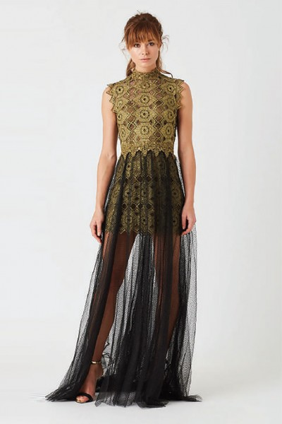 Lace dress with tulle skirt