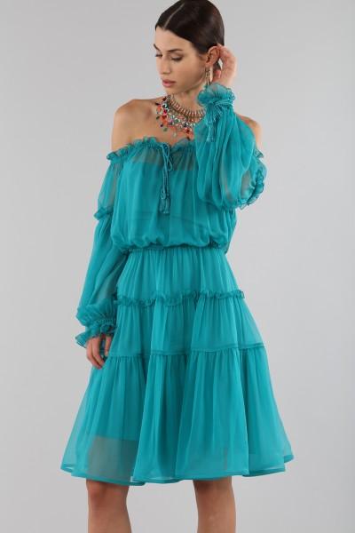 Off-shoulder silk dress with elastic
