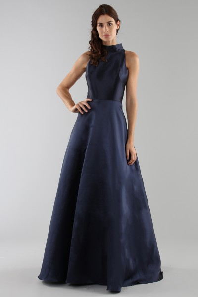 Blue dress with a back teardrop neckline