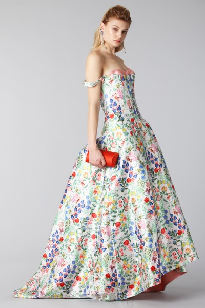 Long dress with contrasting bodice