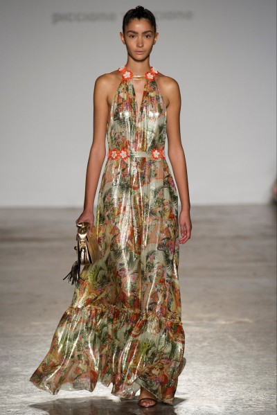 Long shiny dress with floral pattern