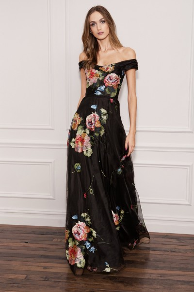 Long off shoulder black dress with floral pattern