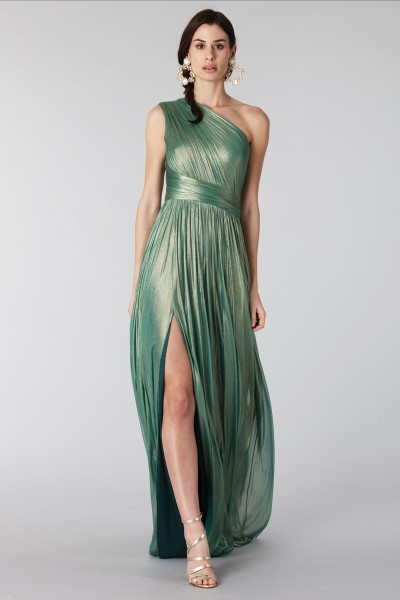 Glittery green single-shoulder dress