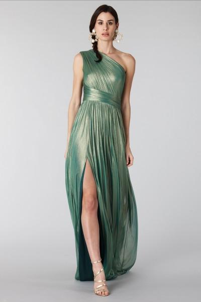 Glittery green single-shoulder dress