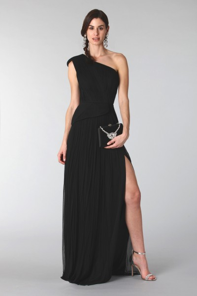 Black dress with single shoulder silk