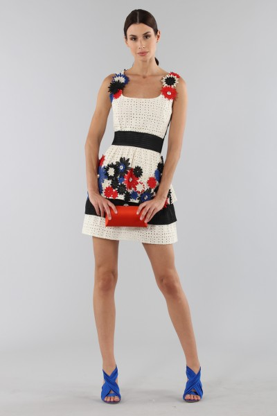 Embroidered dress with applied flowers