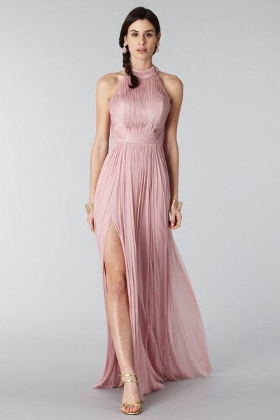 Pink silk dress with split and transparencies