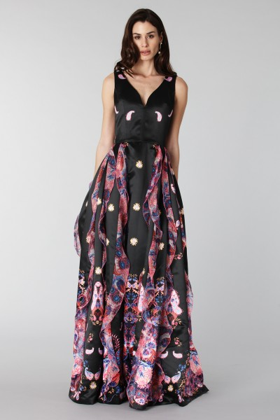Black silk dress with brocade print