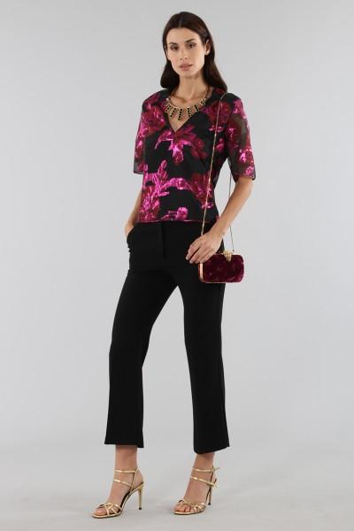 Sweat shirt with fuchsia brocade fantasy