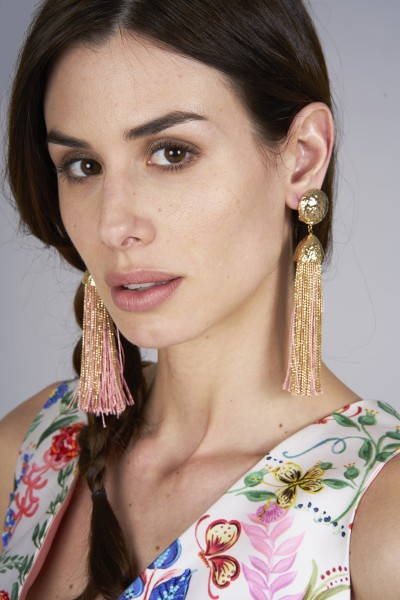 Gold and pink rope earrings