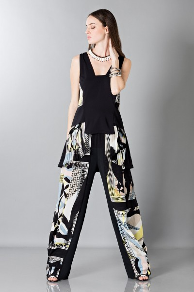 Silk patterned trousers and top