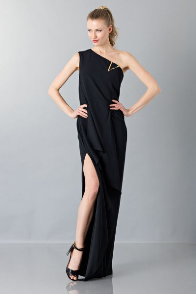 Floor-length one shoulder black dress