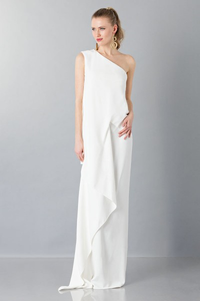 One-shoulder wedding gown