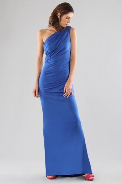 One-shoulder blue dress with details