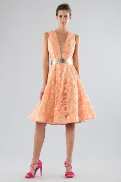 Short peach dress with transparent neckline