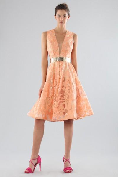 Short peach dress with transparent neckline