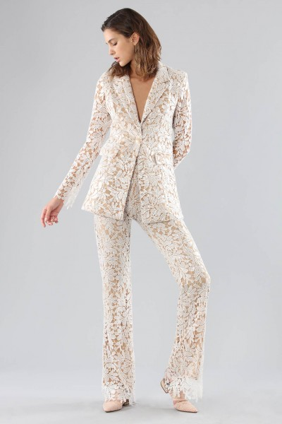 Ivory lace suit with sequins