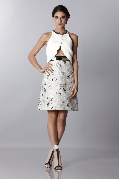 Crepe and jacquard dress with metal belt