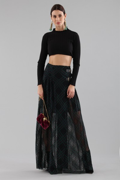 Long checkered skirt with transparencies