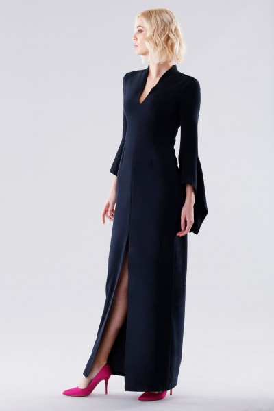 Blue dress with open bell sleeves