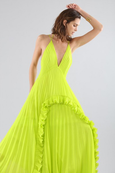Lime dress with ruffles and back neckline