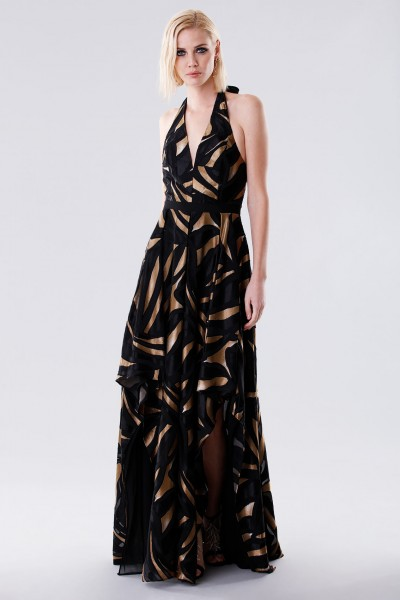 Long dress with golden print