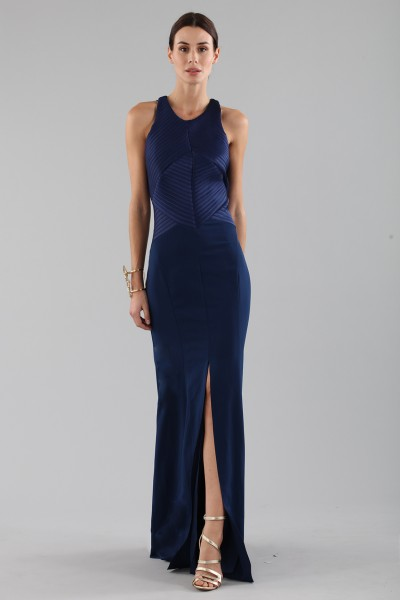 Blue dress with structured top
