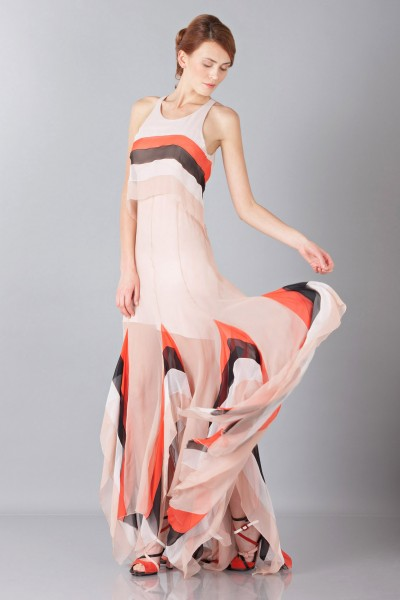 Striped floor-length dress