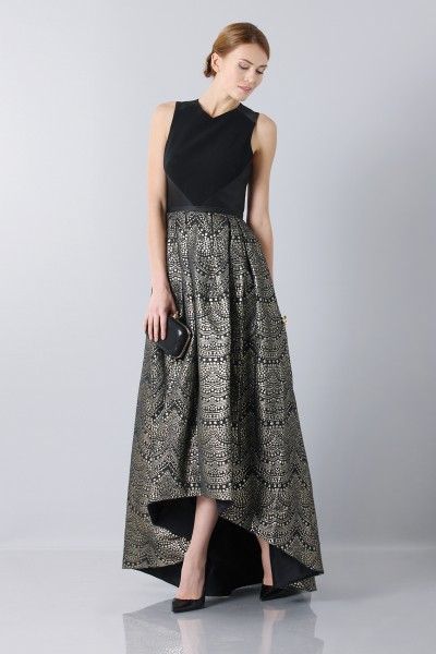 Dress with patterned gold skirt