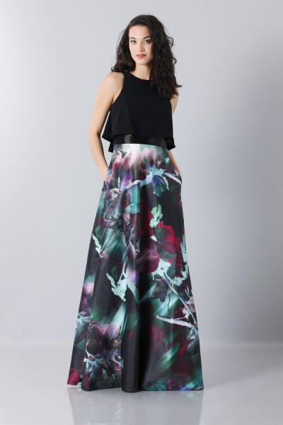 Crop top and floral printed skirt dress