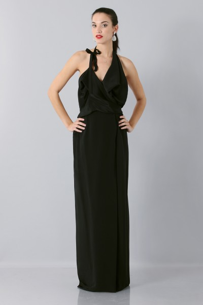 Dress with asymmetrical neck