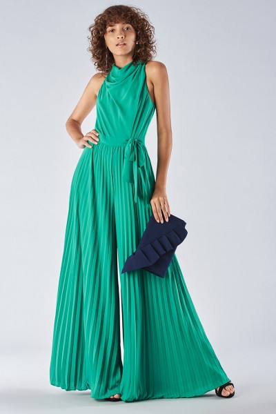 Jumpsuit with pleated leg