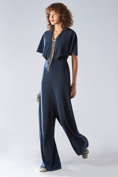 Jumpsuit with short sleeves and V-neck