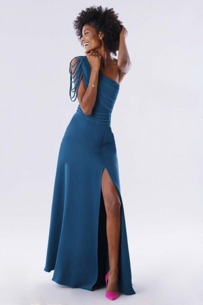 Dark teal dress with applications