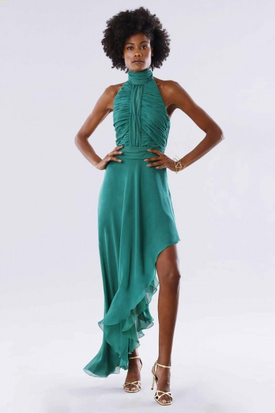 Green asymmetrical backless dress