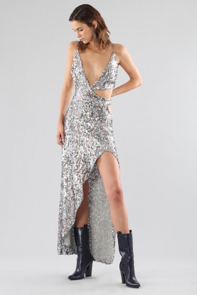 Long sequined dress with side cut-outs