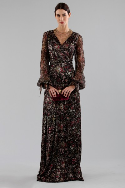 Long wrap dress with floral pattern