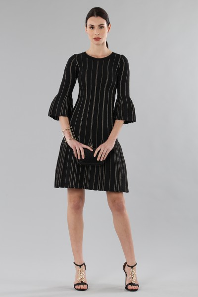 Knitted dress with golden threads