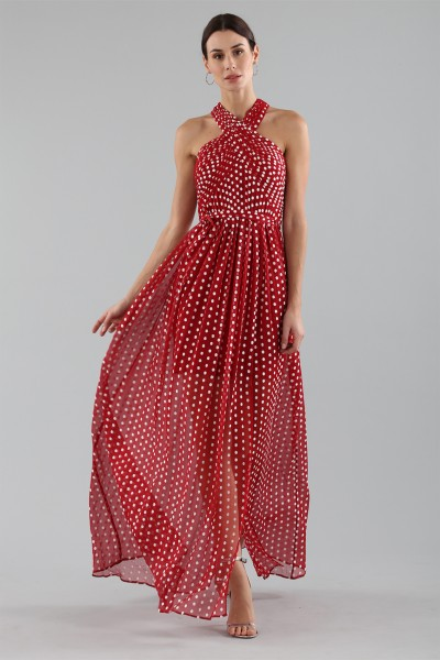 Polka-dot dress with wrap cross lacing at the neck