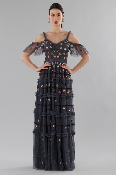 Long dress with off shoulder sleeves