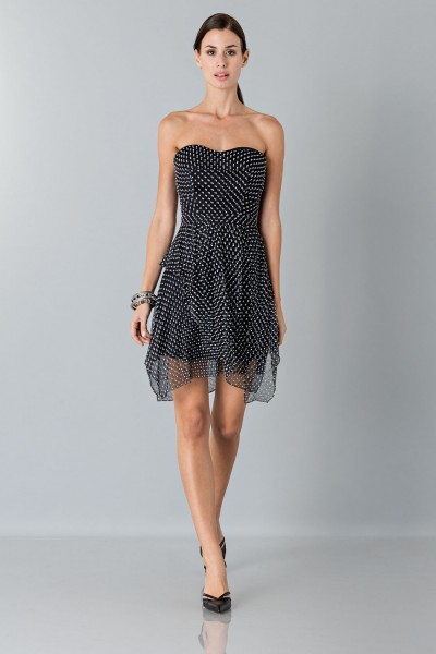 Bustier dress with polka dots