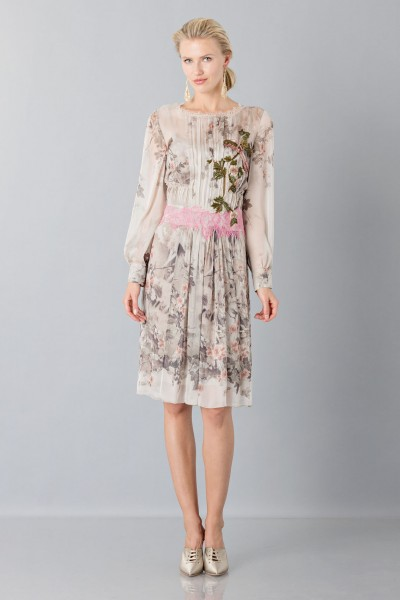 Silk chiffon dress with floral pattern