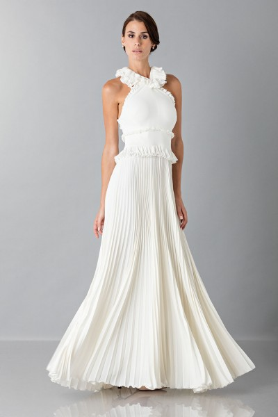 Long white dress with ruffles