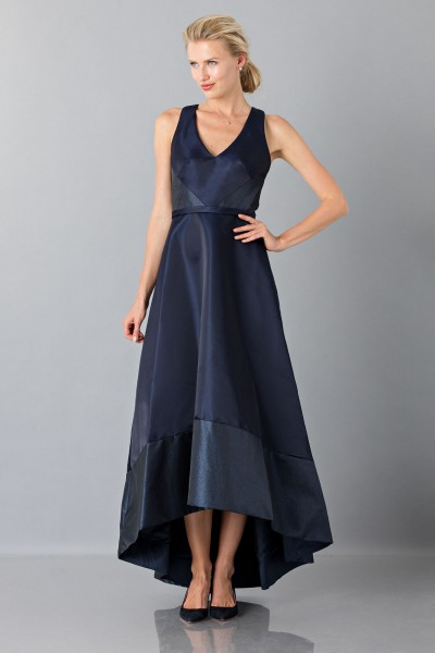 Long asymmetric V-neck blue dress.